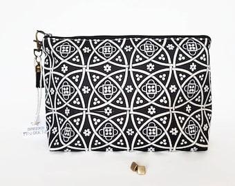 Gifts for her, Wash bag,tile print,travel bag,cosmetic bag,zip bag,make up bag,black and cream.