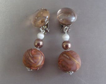 Glass beads and orange tones polymer clip