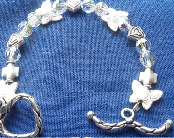 Little girls Sterling Silver bracelet with swarovski crystals SIZE:  41/2.