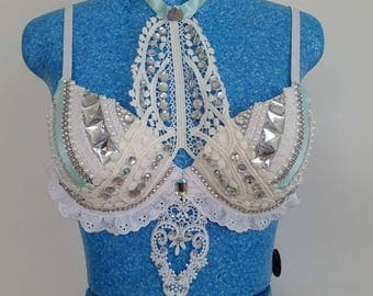 Festival bra, Rave bra, Lace Bra, Rhinestone bra, Festival Clothing 10C push up bra