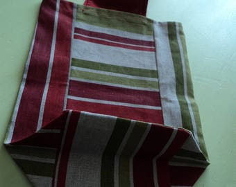 tote bag in coated cotton gray striped red/green