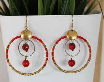 Red and gold earrings Bohemian
