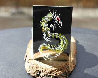 Chinese Dragon painted and engraved on mirror