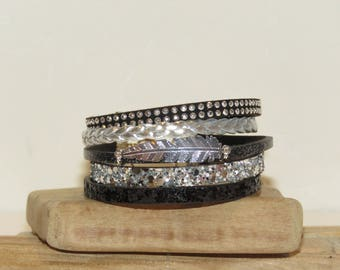 """Brilliant feather"" Cuff Bracelet leather, leather glitter, color black and Silver - gift idea"