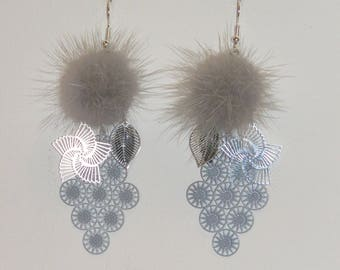 Earrings, gray fur tassel, earrings prints, Sun and flower dangle earrings