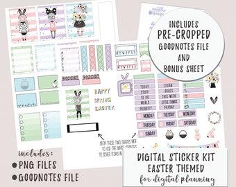 Digital Planner or Digital Journal Easter Sticker Kit for Goodnotes or Digial Planning | iPad Digital Weekly Sticker Set | Digital Stickers