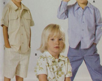 Burda 9792 Sewing Pattern, Boys Short Sleeve Shirt, Boys Long Sleeve Shirt, Boys Button Front Shirt, Size 2 - 6, OOP