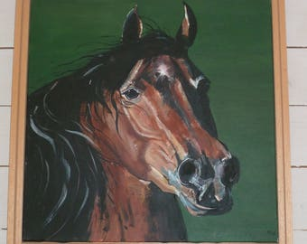 Head of a Bay horse, acrylic on canvas