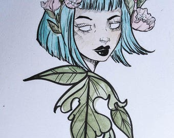POISON IVY Illustration with watercolor and Ink