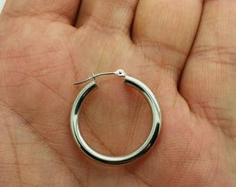 14k White Gold High Polish Tube Hoop Earrings 3mm x 25mm