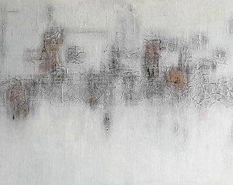 City life (2017) / painting, 150 x 50 x 3, 8 cm / ABSTRACT - Contemporary art / painting, art, acrylic, city, 50 x 150 cm, grey white