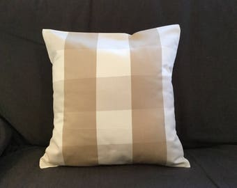 Housse de coussin 40 x 40 cm, taie d'oreiller, tissu à grands carreaux blancs, beiges, taupes
