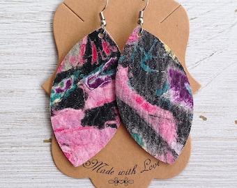 Watercolor Leather Leaf Earrings, Leather Earrings, Statement Earrings, Bohemian