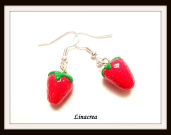 1 pair of earrings in polymer clay Strawberry fruit