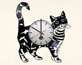 Ragamuffin Cat Vinyl Record Wall Clock