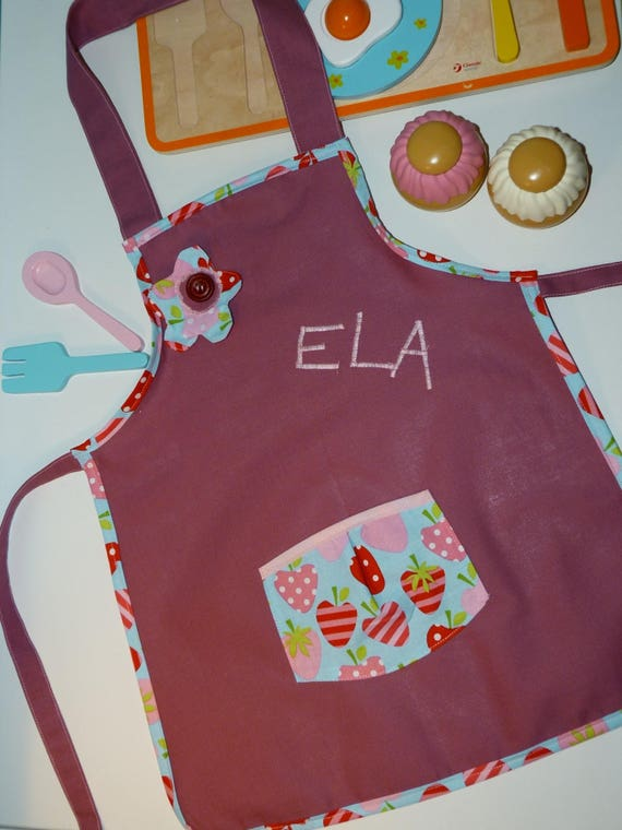 Tablier de cuisine pour filles personnalis fraises - Tablier de cuisine pour petite fille ...