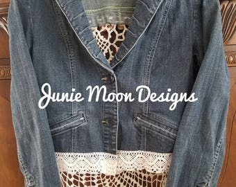 Custom repurposed denim jacket with vintage lace trim