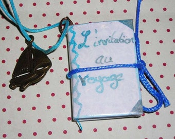 Necklace book poetry invitation to travel from Baudelaire (book necklace)