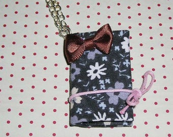 Necklace floral fabric book (cloth book necklace)