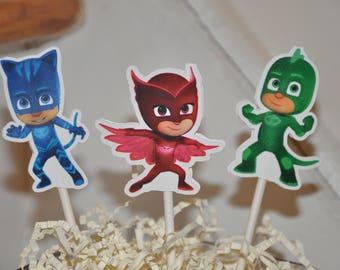 PJ Masks Cupcake Toppers set of 12