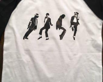 Michael Jackson Dancing Baseball Tee/Adult/Thriller/King of Pop/Billy Jean/Singing/men/women
