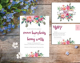 A6 Vibrant floral invitations and RSVP cards