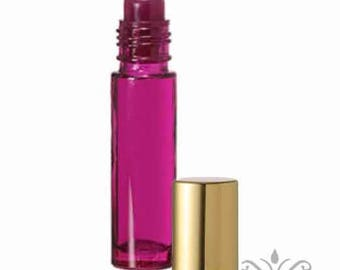 6 Purple Glass 10 ml. -1/3 oz. ROLL ON bottles with Gold Cap metallic essential oil aromatherapy perfume body fragrance oil attar cosmetic