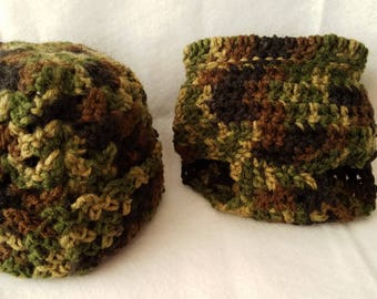 Camo-colored Crocheted Diaper Cover and Hat Set