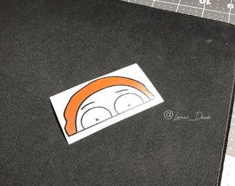 Peeking Morty mirror decal, custom, decals, stickers, rick and morty