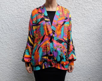 1970's Usagi Silk Print Jacket U5aXjzDc