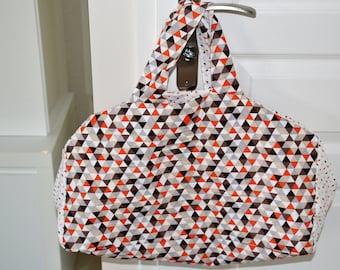 Origami white orange brown Bowling bag
