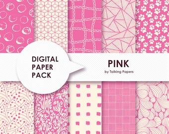 Digital Paper Pink - Digital Paper Pack - Pink Pattern Backgrounds - Pink Scrapbook Paper - Printable Paper - 12x12 paper - Instant Download