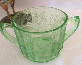 Depression open sugar bowl in Floral Green by Jeanette, Poinsettia pattern sugar bowl, depression green sugar bowl, double handle sugar