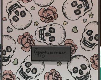 Pink Skulls & Roses Card