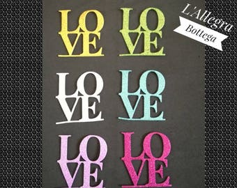 "10 die ""LOVE"" in glittery, solid-color crepe rubber for your decorations/jobs/scrapbooking"