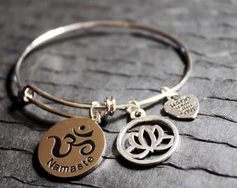 Namaste and Lotus Flower Charm Bracelet