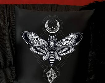 Death Moth Throw Pillow Cover