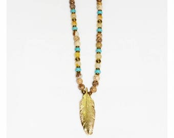 Leaf necklace, Bead necklace, Pendant necklace, Gold brown necklace, Beaded necklace, Women necklace, Necklace gift, Leaf jewelry, Her gift