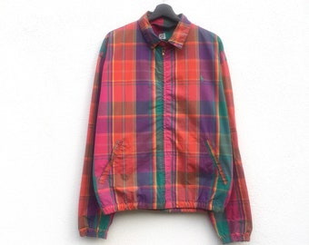 RARE !! POLO vintage 90s Polo Ralph Lauren madras small pony colourful zipper jacket