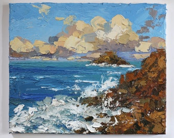 Cornish Coast, England, Oil painting on canvas