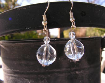 Faceted and translucent blue bead earrings