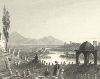 Cemetery & Walls of Antioch, Syria 1841 - Old Antique Vintage Engraving Art Print - Grave, Cemetery, Religious, Mountain, Ruins, River