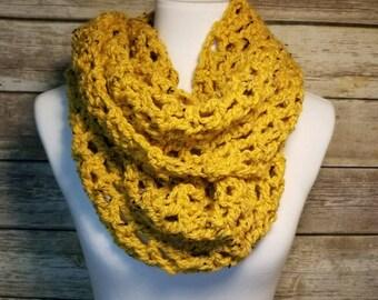 Crochet infinity scarf, yellow scarf, handmade scarf, ready to ship, yellow infinity scarf,  infinity scarf, yellow tweed yarn,