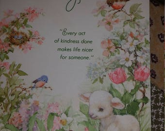 Vintage Greeting Card - Ambassador Cards Thank You Card - Baby Lamb in Flower Garden