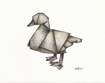 Origami Duckling (pen and ink drawing)