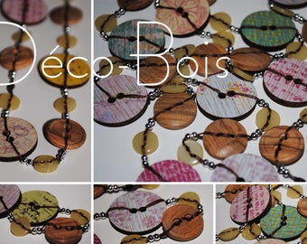 Decor-wood - buttons long necklace