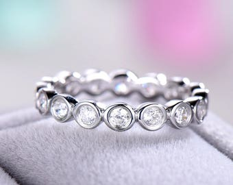CZ Diamond Wedding Band 925 Sterling Silver White Rose Yellow Gold Full Eternity Stacking Ring Bridal Stackable Ring Bezel Anniversary Gift