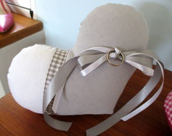 'Country chic' ring bearer pillow, grey, taupe and gingham