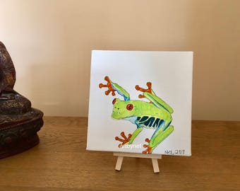 FROG painting, Tree frog art, watercolour tree frog, perfect gift, frog lovers gift, 15cm x 15cm painting, original watercolour painting