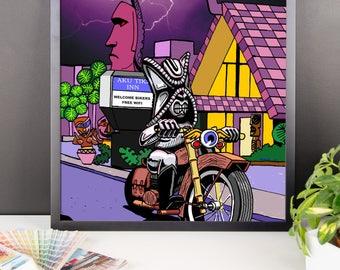 Chrome Tiki at the Aku Tiki Inn Daytona Beach Bike Week Framed poster